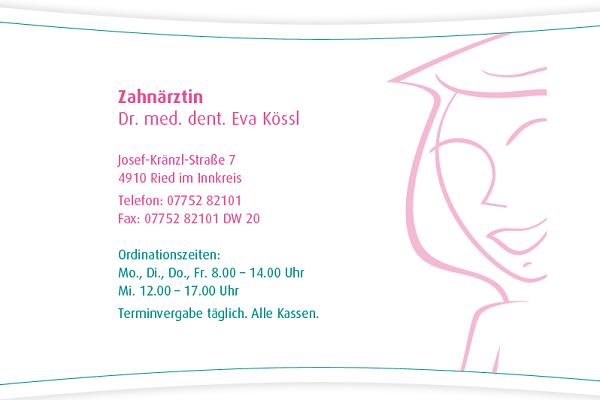 Galerie-Bild 1: Dr.med. Eva Kössl aus Ried im Innkreis von Kößl, Eva Simone, Dr.med., Ärzte \ Fachärzte f Zahn-, Mund-u Kieferheilkunde