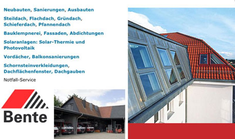 BENTE GmbH & Co.KG Dächer + Wände Abdichtungen