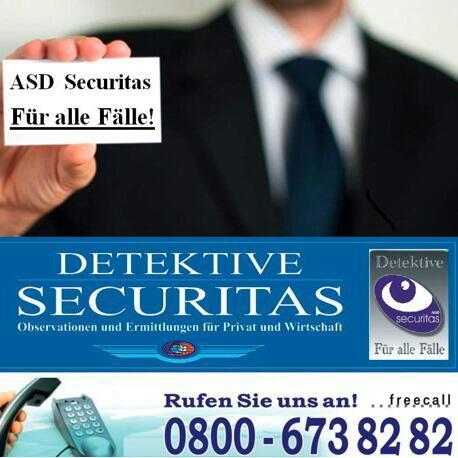 A.S.D. SECURITAS - Wirtschafts- & Privatdetektei seit 1992 Regional vor Ort 24h - Diskret und zuverlässig!
